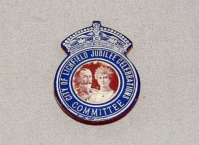 King George V, City Of Lichfield Jubilee Celebration, Committee Badge, 1935.