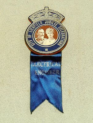 King George V, City Of Lichfield Jubilee Celebration, Electrical Engineer Badge.