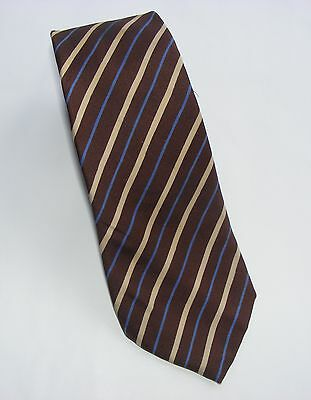 Vintage 80s Silk Tie: Brown/ Beige/ Blue Stripes. Very Continental