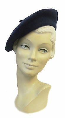 New Ladies Navy Blue Vtg WW2 Victory 1940s style Homefront Classic Beret Hat