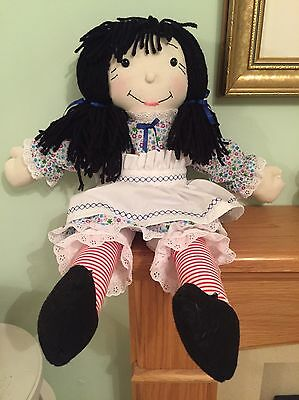"Beautiful Quality Hand Made 25"" Cloth / Rag Doll Dressed Beautifully New"