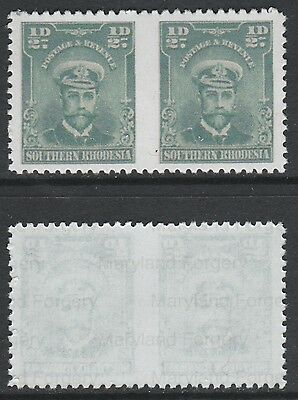 S Rhodesia (732) 1924 KG5 1/2d pair IMPERF BETWEEN  a Maryland FORGERY unused