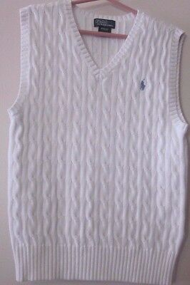 Boys Size M (10/12) Polo by Ralph Lauren White Cable V-Necked Sweater Vest~GC