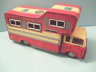 Tin Toy FRICTION POWERED CAMPER TRUCK BY T.N AZUMA MADE IN JAPAN 8 INCHES LONG