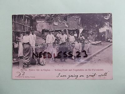 vintage postcard Native Life in Ceylon selling fruit & vegetables, posted 1905