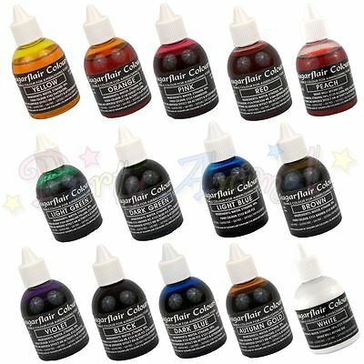 Sugarflair AIRBRUSH COLOUR set of 14 - Edible food colouring for airbrushing