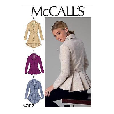 McCALL'S SEWING PATTERN MISSES' FITTED LINED JACKETS PEPLUM OPTIONS 6-22 M7513