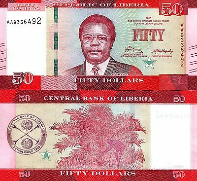 LIBERIA 50 Dollars Banknote World Paper Money UNC Currency Pick p-New 2016 Bill