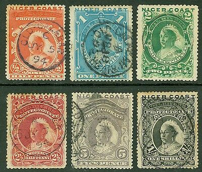SG 45-50 Niger Coast ½d -1/- set of 6. Fine used CAT £60