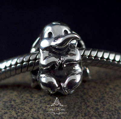 Genuine SOLID 925 Sterling silver charm bead lucky baby elephant fits bracelet