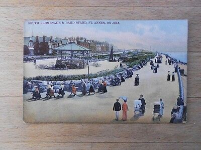 Old postcard St Annes On Sea Promenade & Band Stand, 1906