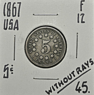 1867 United States 5 cents F-12