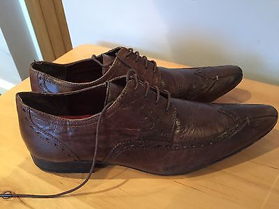 MENS BROWN LEATHER CASUAL WINKLE PICKER SHOES By NEXT - SIZE 8