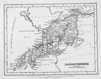 OLD ANTIQUE MAP WALES CARNARVONSHIRE / CARMARTHENSHIRE c1860's by HEYWOOD
