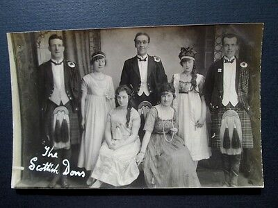 THE SCOTTISH DONS, TOURING CONCERT PARTY, KILTS - REAL PHOTO POSTCARD 1910s/20s