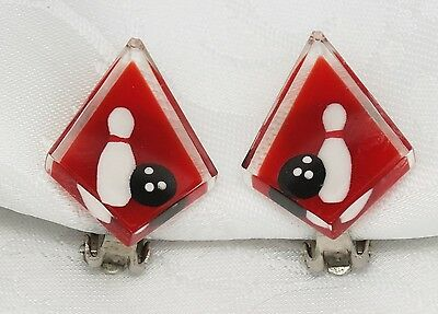 EARRINGS LUCITE BOWLING Reverse Carved Vintage PIN BALL CLIPS RED WHITE