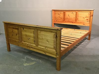 "Solid Antique Pine Standard Double 4'6"" Bed Frame"