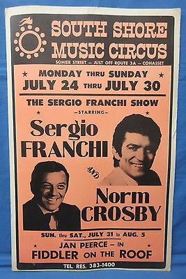 "1960's South Shore Music Circus Poster Sergio Franchi & Norm Crosby 22"" X 14"""