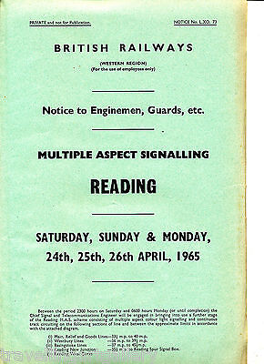 Br(W) Signalling Notice Reading Panel Multiple Aspect Signalling Plan 1965