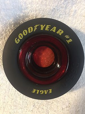 """Goodyear Tire Red Glass Ashtray Rubber Tire 5"""" x 2"""" New"""