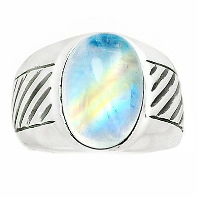 Rainbow Moonstone 925 Sterling Silver Men's Ring Jewelry s.8.5 SR193427