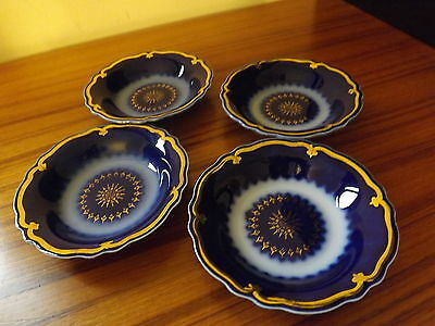 Four small Flo Blue bowl signed each has individual number very beautiful