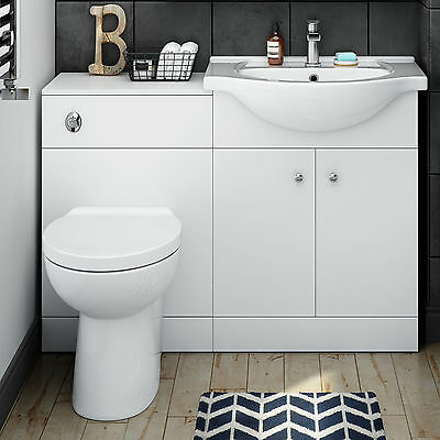 Toilet and Sink Bathroom Vanity Unit Basin Furniture Matte White 1150mm NLT