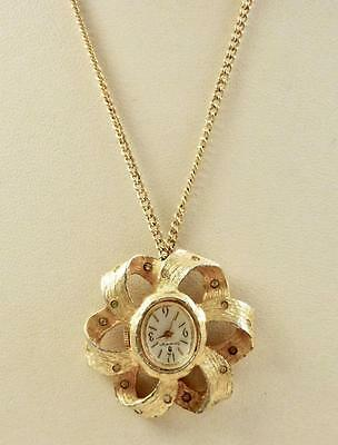 Vintage SOVEREIGN 7Jewels Goldtone Ribbon Pendant Watch Necklace-For Repair