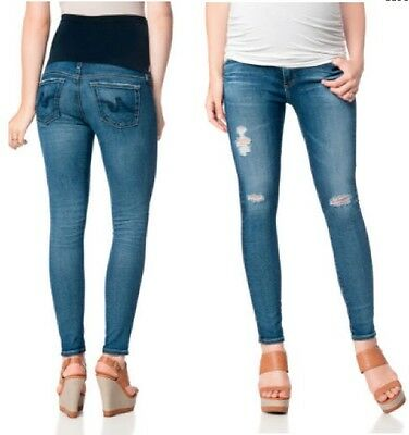 "Ag Jeans ""The Legging"" Ankle Fit Destructed Maternity Jeans NWT$235 sz28 11Y SWM"
