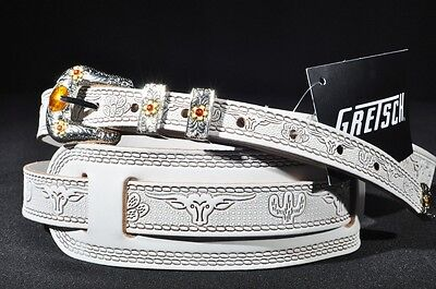 Gretsch Tooled Leather Guitar Strap White  New