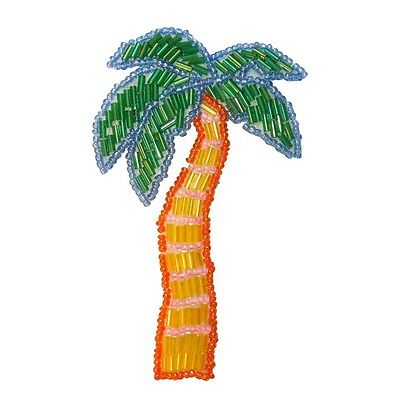 Embroidered Iron On Applique Patch 10x Green Coconut Island Tropical