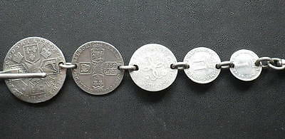 . Maundy Money Fob Chain. 1680-1787 Maundy One Penny - Shilling. Length: 12cm