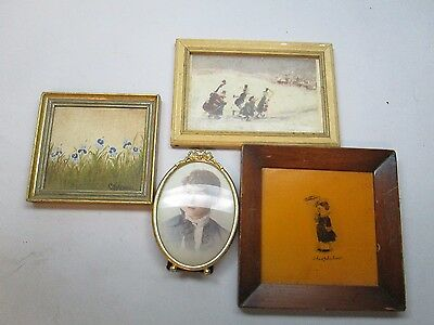 Lot of 4 small framed art portrait flowers Theophilus Christmas