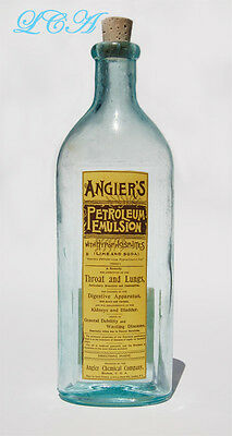 Antique ANGIER'S Petroleum Emulsion LARGE oval BOTTLE with INDENTED PANEL