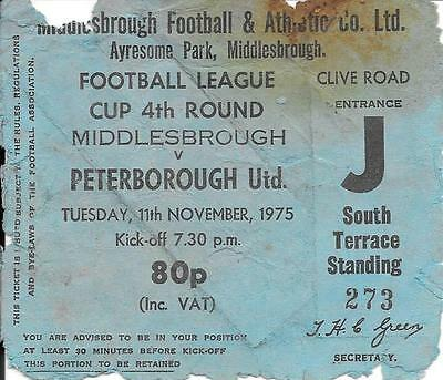 Ticket Middlesbrough v Peterborough United League Cup 4th Round 1975/76