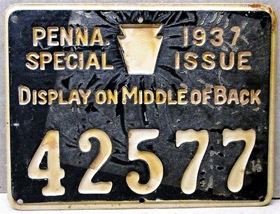 1937 Special Issue Tin / Metal Penna.  Hunter License,