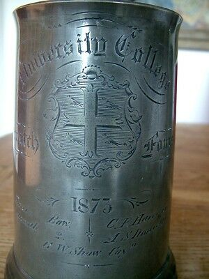 1873 Antique University College Oxford Rowing Fours Pewter Tankard Dixon Rowell