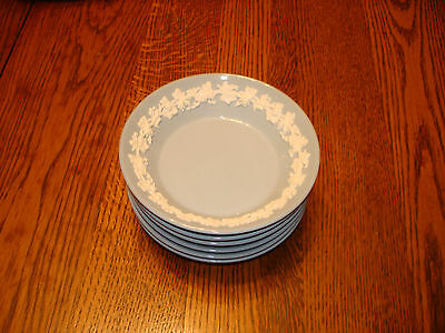"6 Wedgwood Queensware 5 1/8"" Sauce Dishes Plain Edge White on Blue"