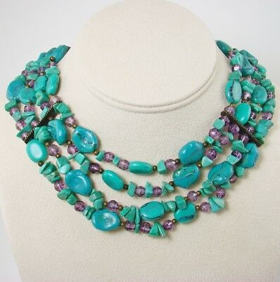 Stunning Vintage 4 Strand Faux TURQUOISE Purple Bead Bronze Necklace Jewelry