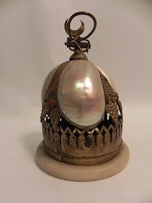ANTIQUE BRASS SPRING LOADED FRENCH SLAVE CALL BELL PEARLS Crescent Moon 1800's