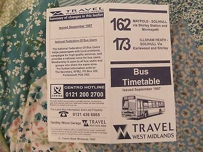 West Midlands Travel route 162 173 Birmingham Solihull Bus Timetable 1997