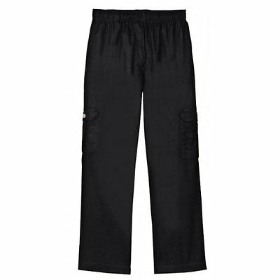 Dickies Chef Pants Black Drawstring Waist Baggie Cargo Pocket 2X DCP200 New