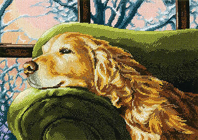 Needlepoint Kit Dimensions Lounging Golden Retriever Dog Winter's Nap #71-20078
