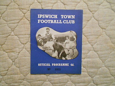 Ipswich Town V Barnsley League Cup 1St Round Match Programme 1960