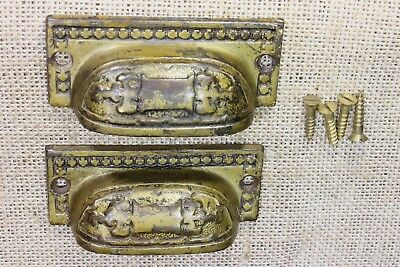 2 Drawer handles Bin Pulls vintage old tarnished brass color cast iron 3 1/4""