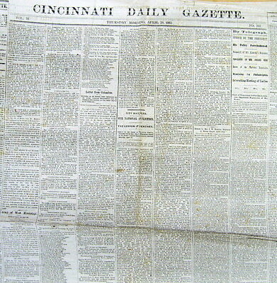 1865 Civil War newspaper wLong Eyewitness account ABRAHAM LINCOLN ASSASSINATION