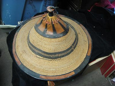 "Vintage African Fulani Hand Woven Straw Cloth & Leather 21.5"" Diameter"