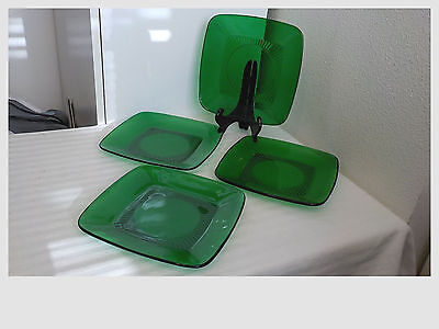 """4 Vintage Forest Green Anchor Hocking Charm 8 1/4"""" Luncheon Plates"""