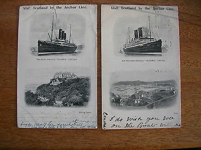 Anchor Line (2 Cards) Twin Screw Caledonia & Columbia, Undivided, P/m 1907