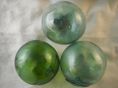3 Authentic Japanese Fishing Floats with Amber Swirls Alaska Beach Combed
